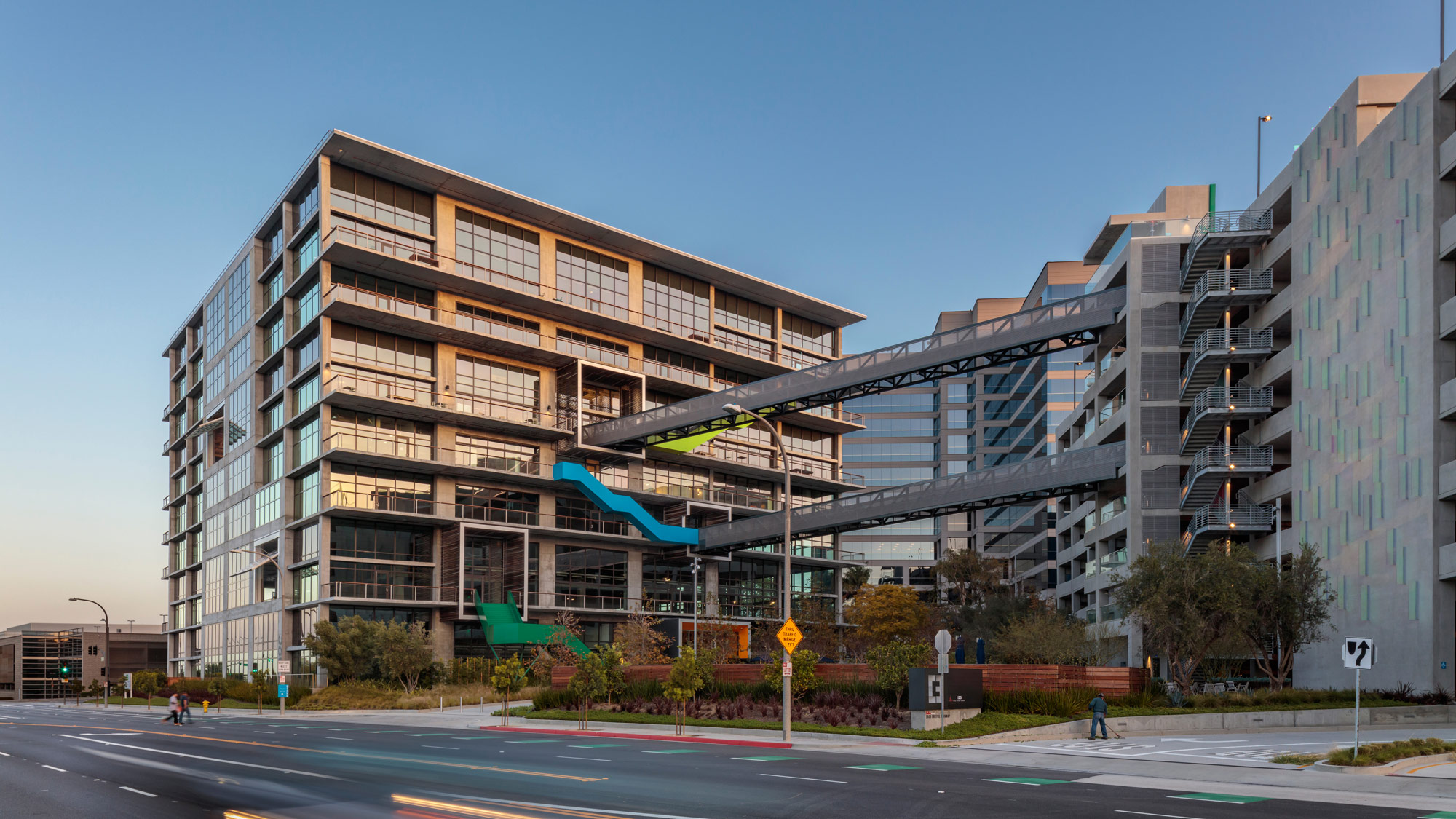 An exterior photo of the Culver City Creative (C3) office building in Culver City, California, showing exterior walkways and entry points.