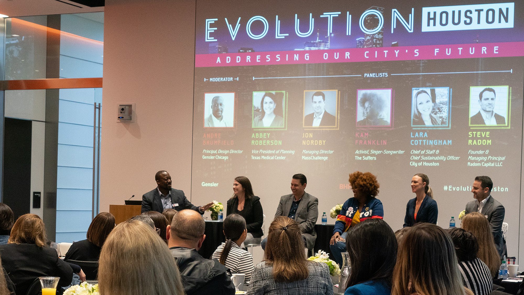 The panelists for Gensler's Evolution Houston forum discuss the city's future