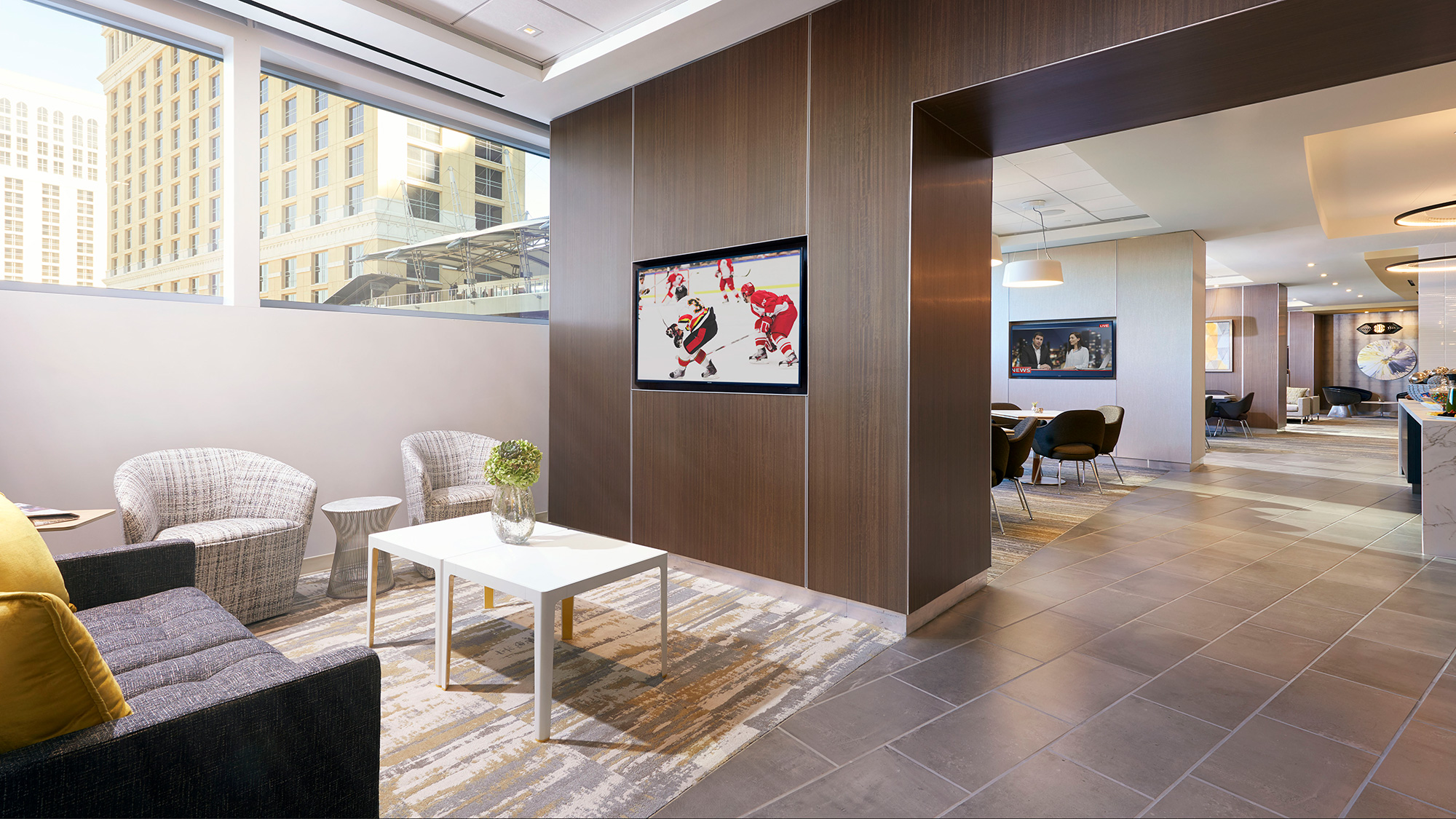 Lush furnishings and interiors welcome guests to the Vdara Club Lounge in Las Vegas.