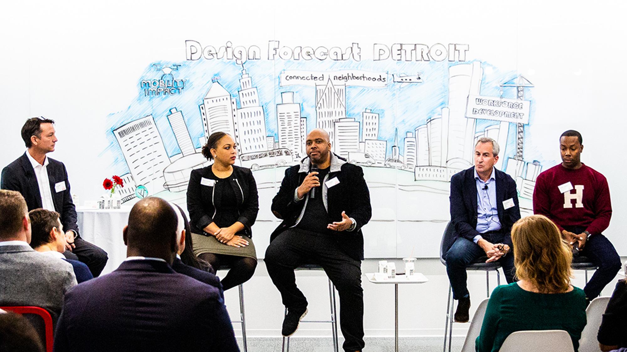 Panelists for Gensler Detroit's Design Forecast Local event.