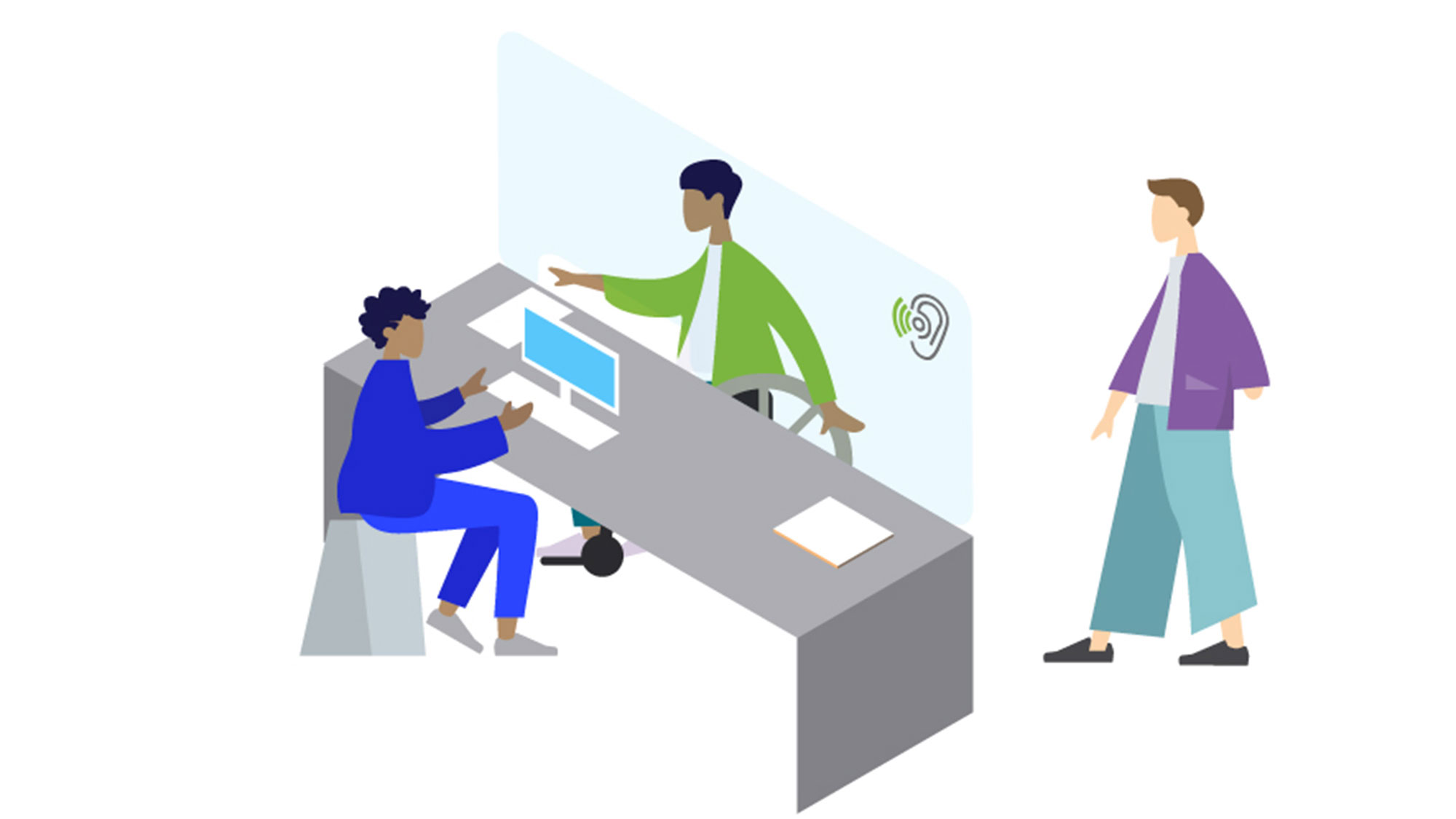 A graphic illustration depicting a service counter with plexiglass separating a receptionist from the public.