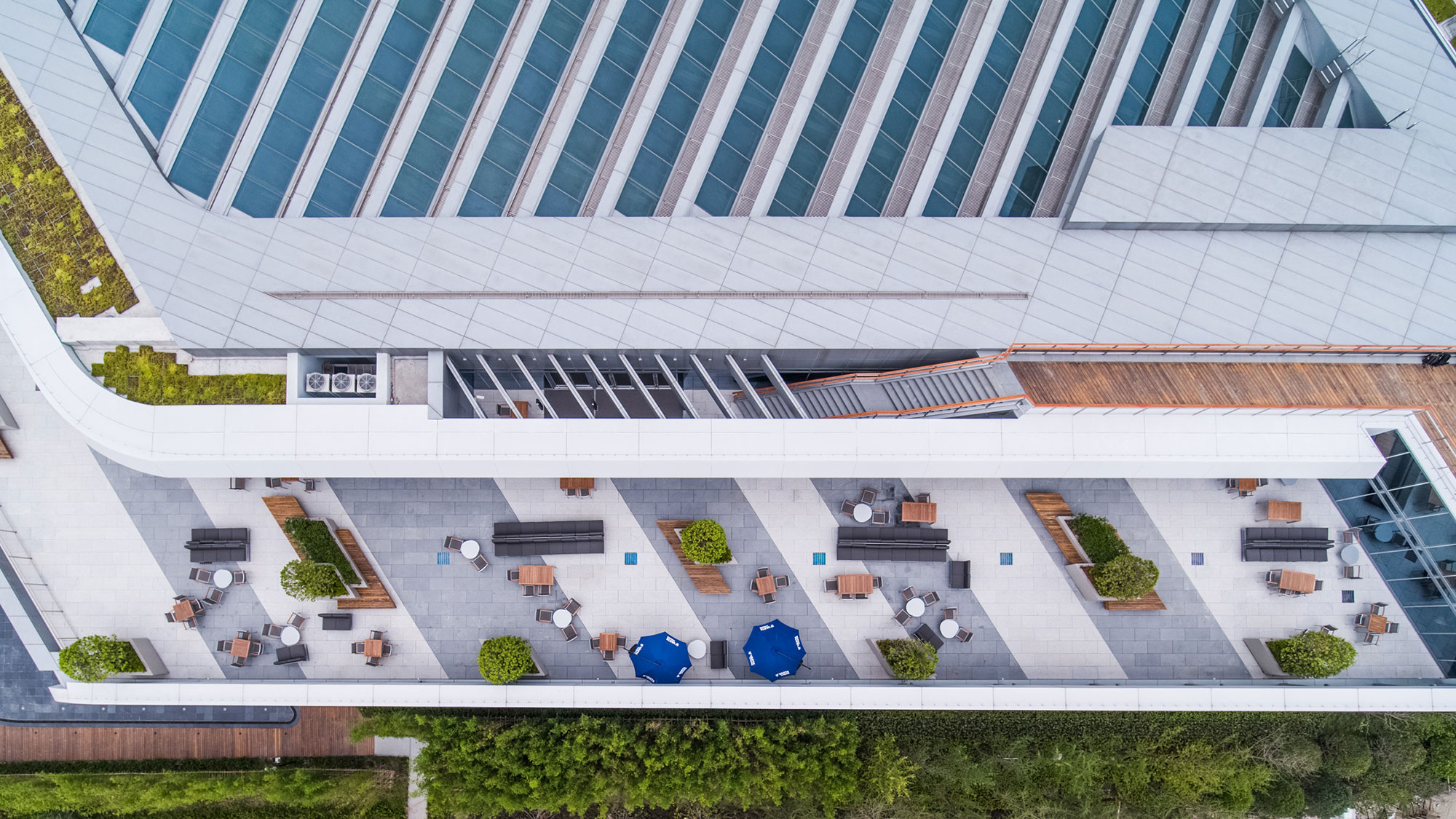 An aerial view of Johnson Controls Asia Pacific Headquarters showing terraces and outdoor space.