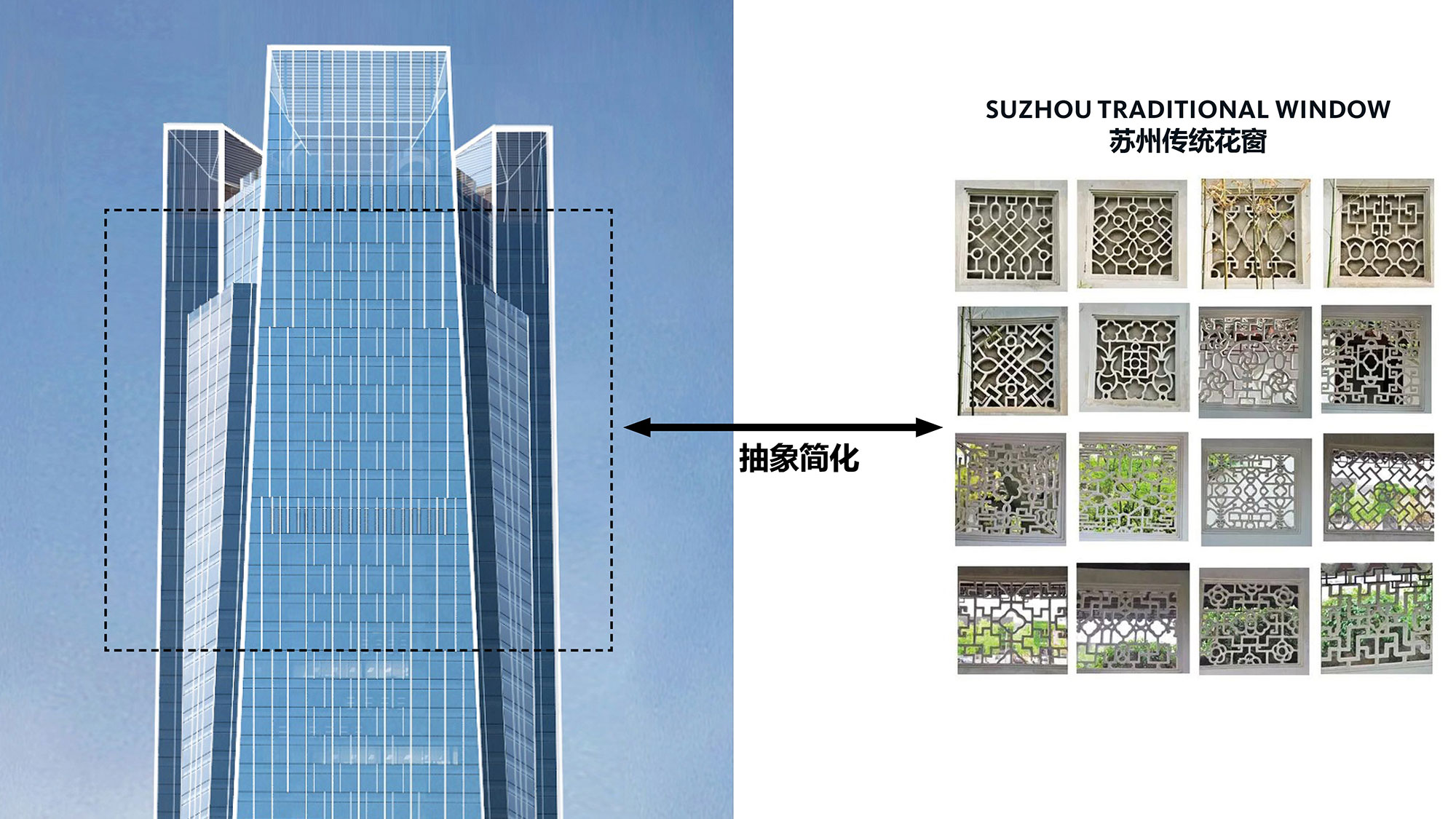 A close up of the curtain wall shows how the design used traditional Suzhou culture elements