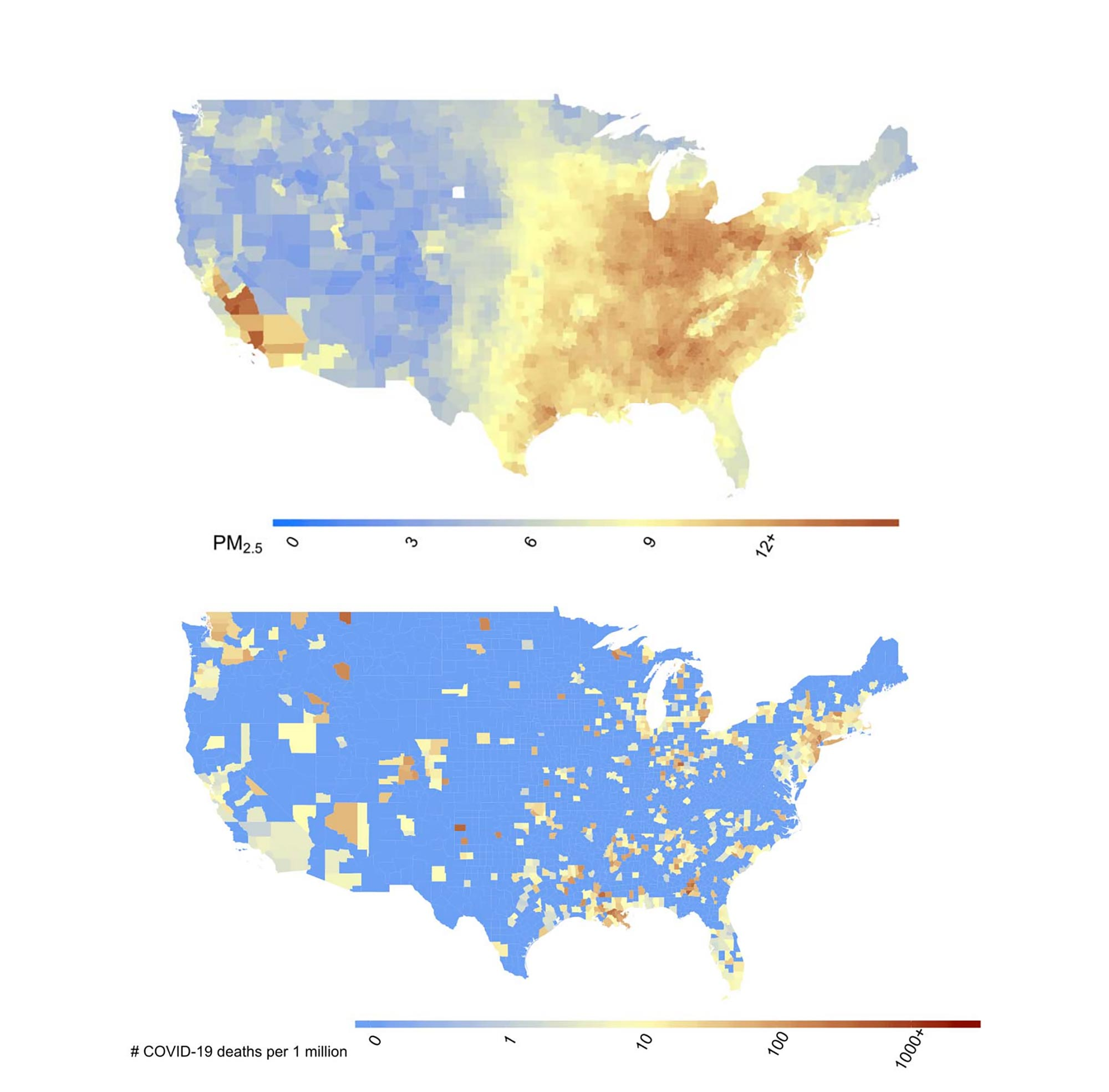 Maps show (a) county-level 17-year long-term average of PM2.5 concentrations (2000- 2016) in the US in g/m3 and (b) county-level number of COVID-19 deaths per one million population in the US up to and including April 4, 2020.