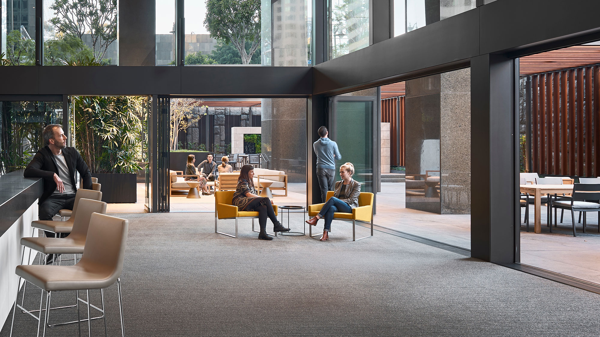 This office lobby introduces indoor and outdoor space.