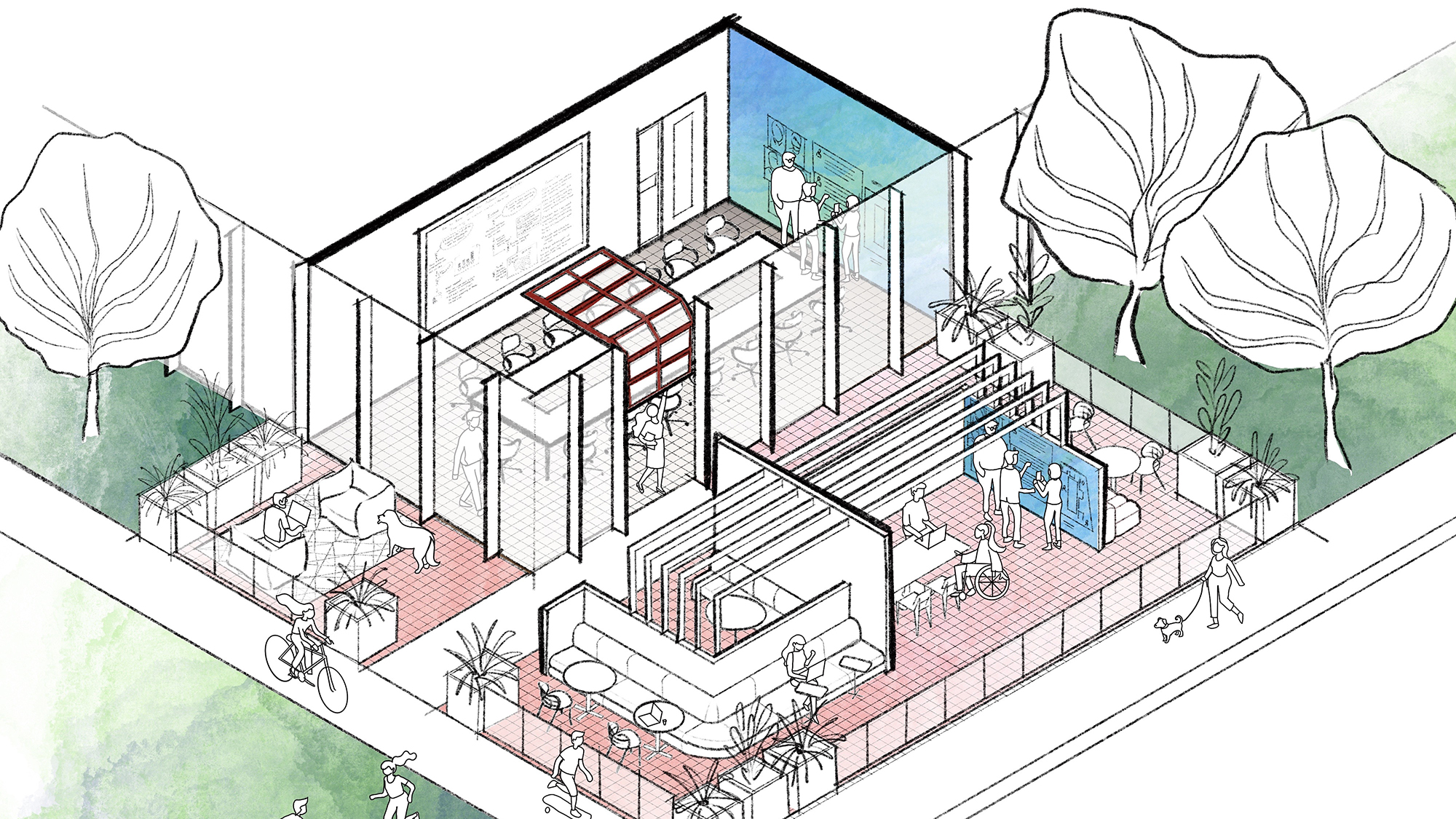 A sketch of the mid-door space, an indoor-outdoor place for collaboration and socialization